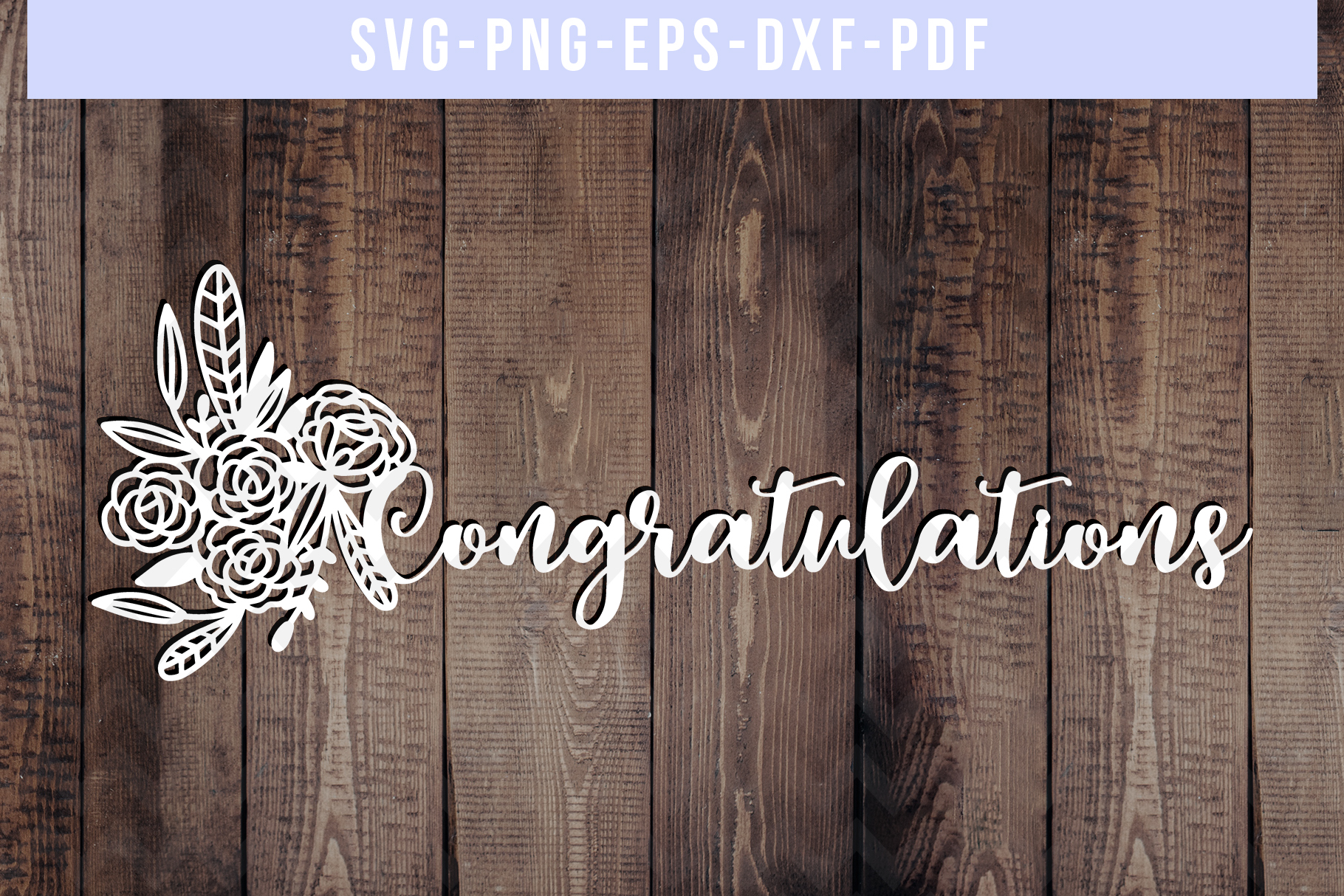 Congratulations Papercut Template, Wedding Cut File, SVG PDF example image 1