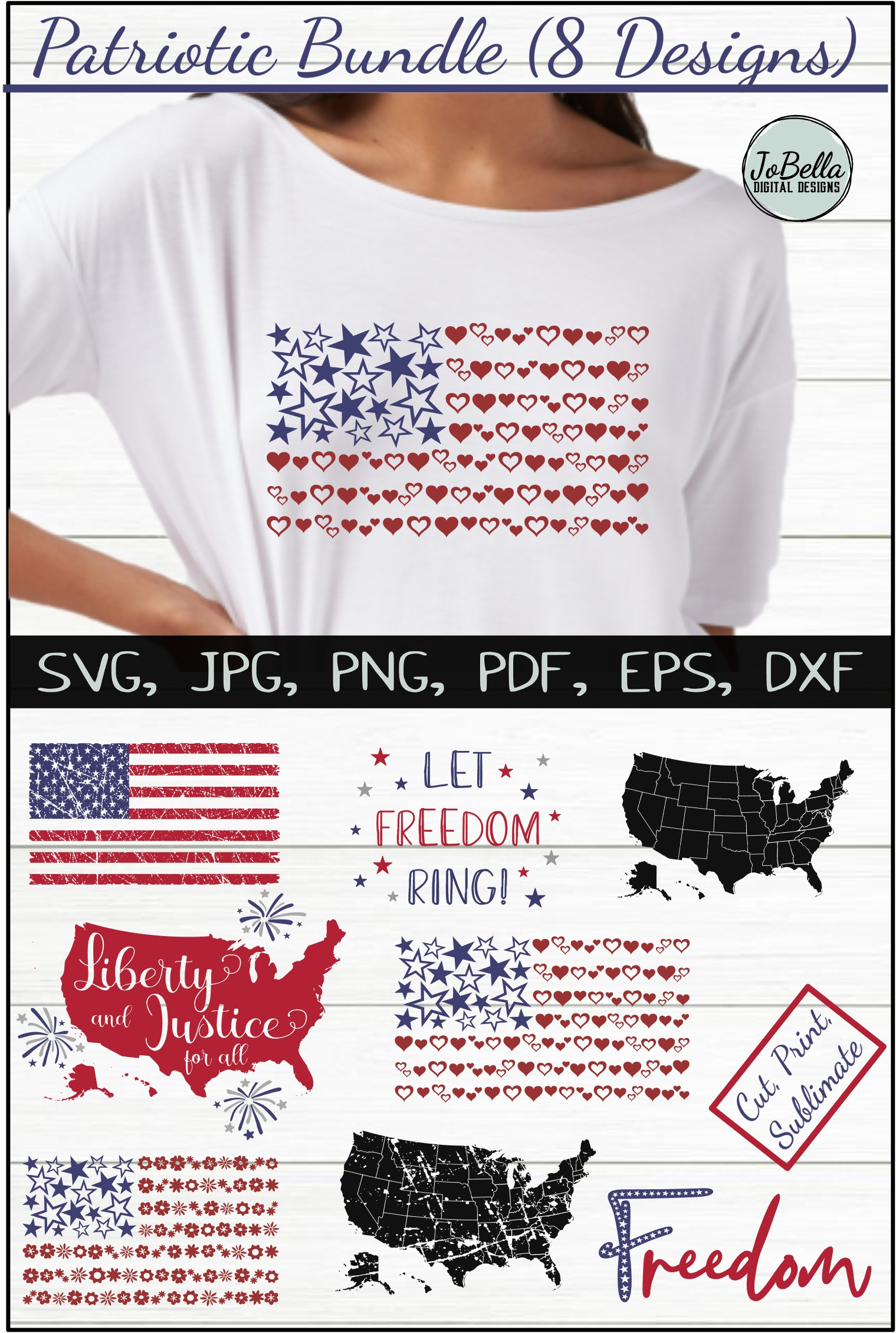 Patriotic SVG Bundle- July 4th Sublimation PNGs & Printables example image 10