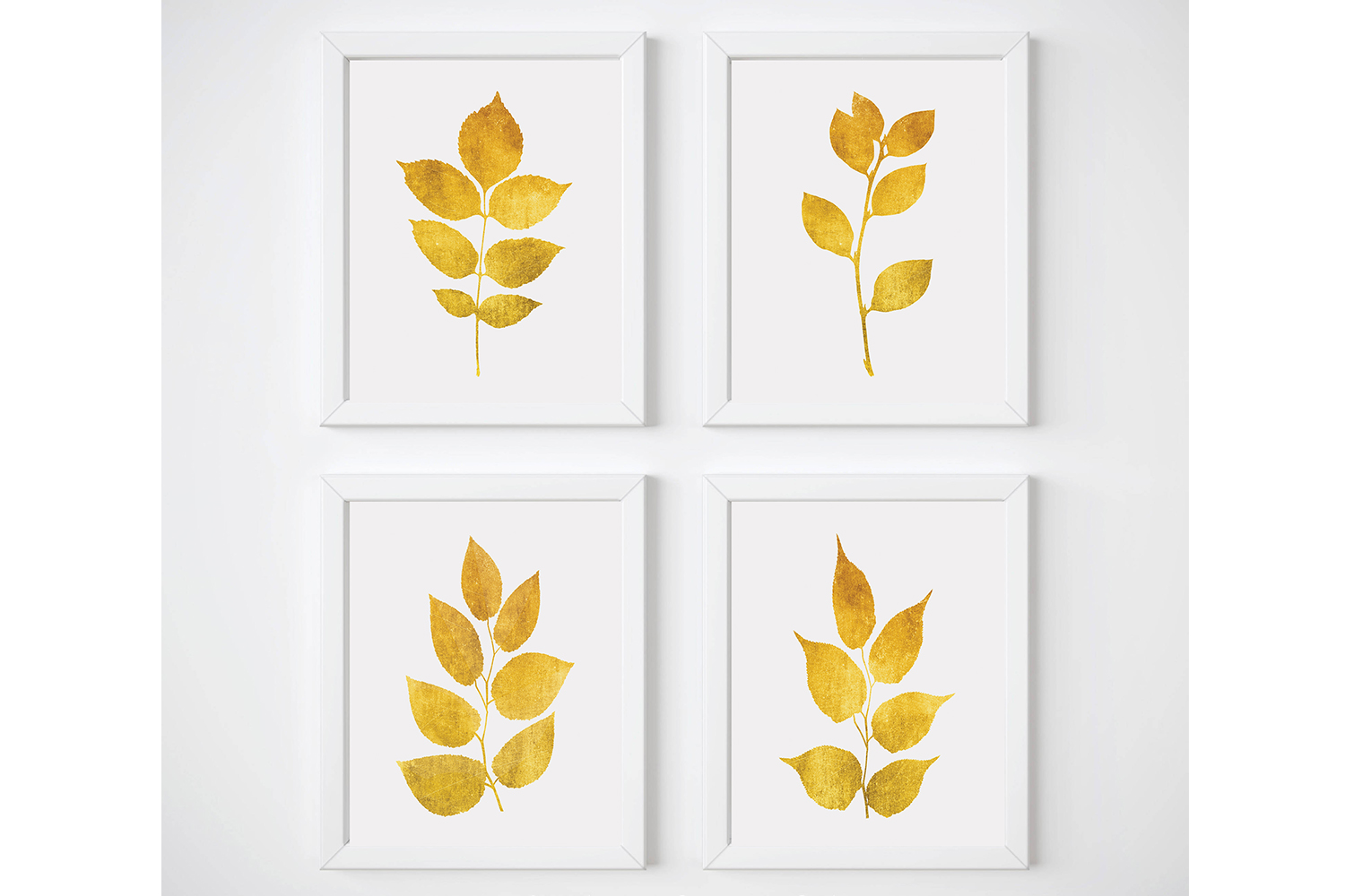 Yellow Wall Art, Gold Wall Decor, Leaf Wall Art, Gold Print example image 1