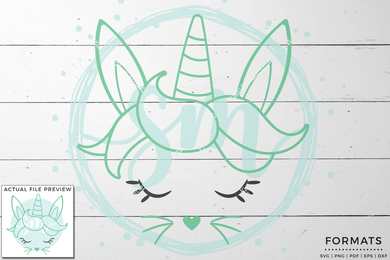 Easter Unicorn Face SVG Files for Cricut example image 1