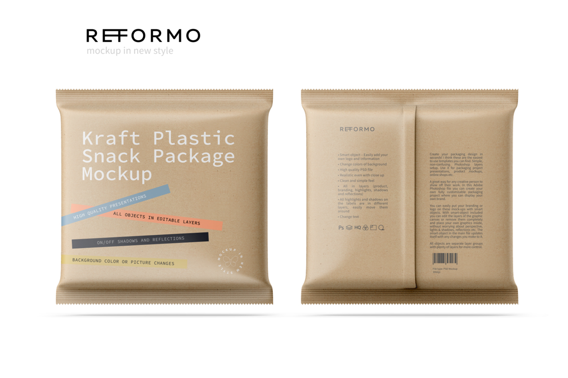 Kraft Snack Package Mockup Front & Back View example image 2