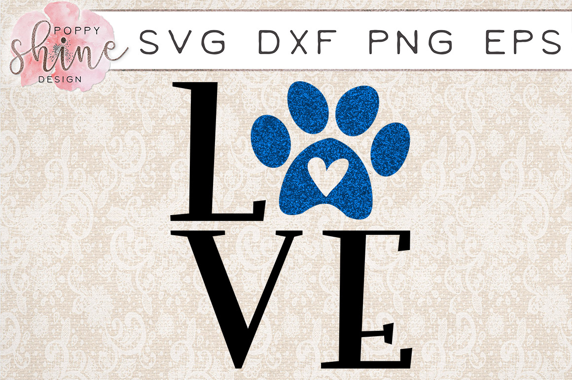 Love Paw Print SVG PNG EPS DXF Cutting Files example image 1