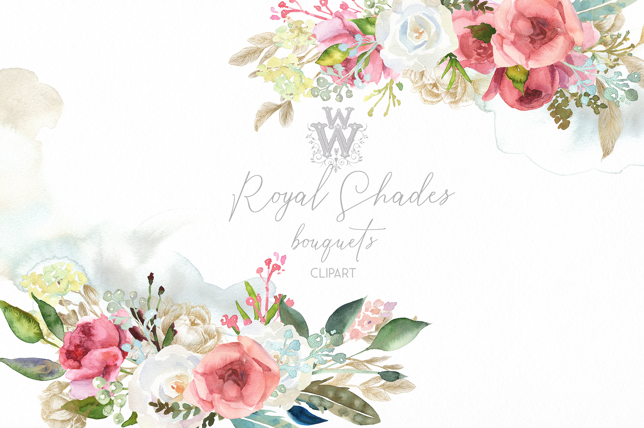 Watercolor rustic wedding bouquets clipart, vintage wreath ...