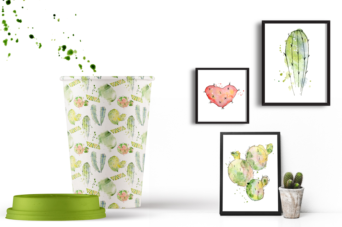 Boho Watercolor abstract Cactus Tropical clipart example image 14