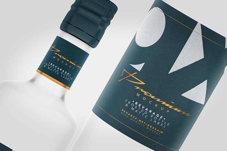 Beverage Mockup - Glass - Frosted Bottle - Matte Label - example image 4