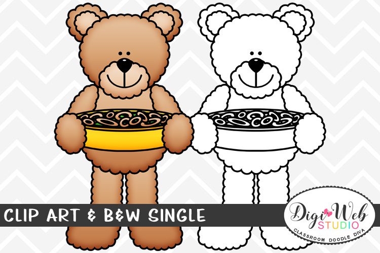 Clip Art & B&W Single - Teddy Bear w/ Green Bean Casserole example image 1