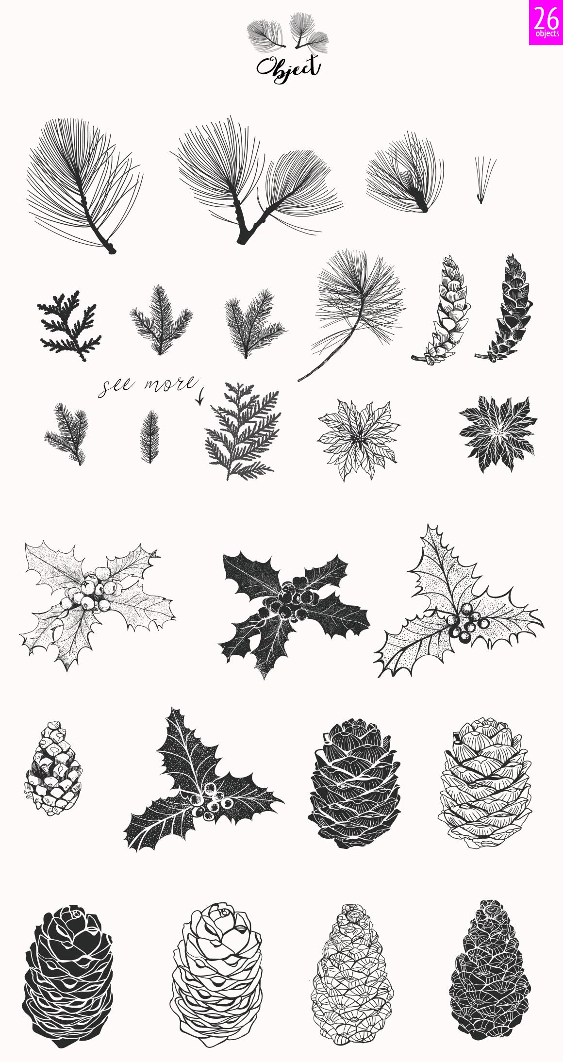44 Winter patterns set example image 5