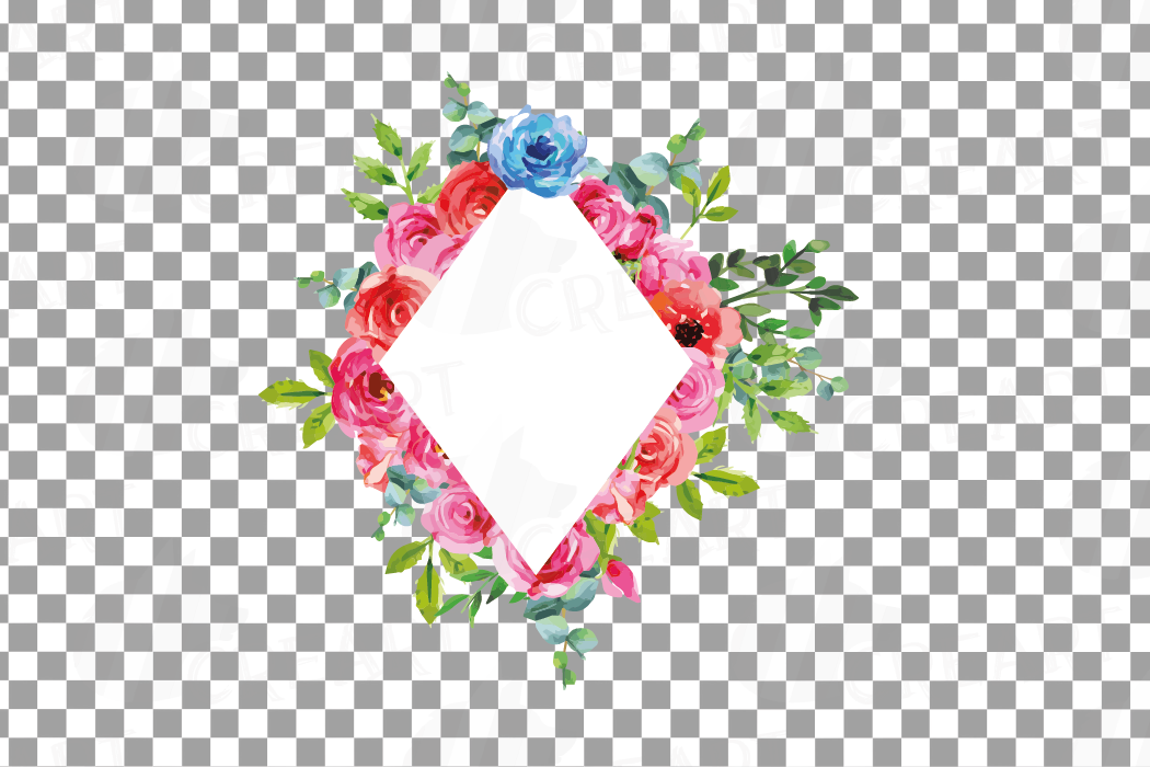 Boho pink and blue floral frames watercolor clip art pack example image 20