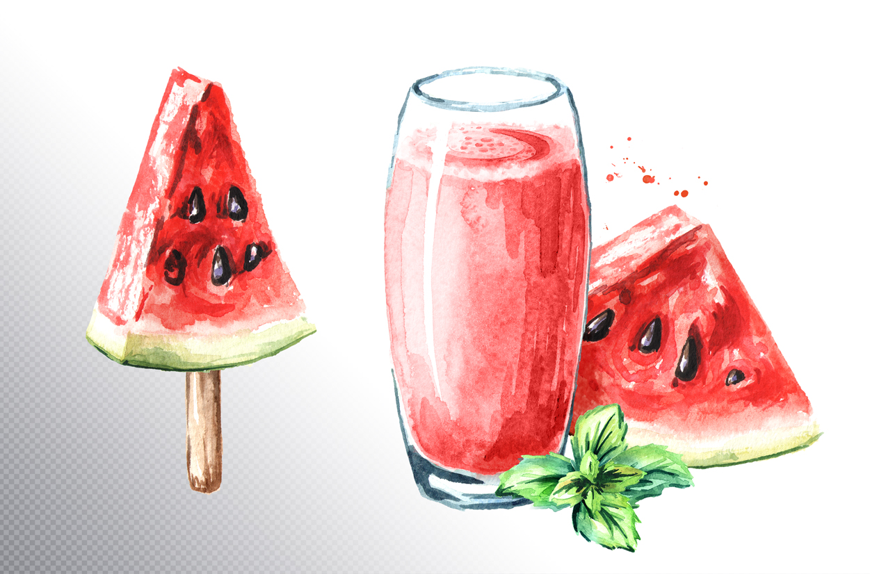 Watermelon. Watercolor collection example image 4