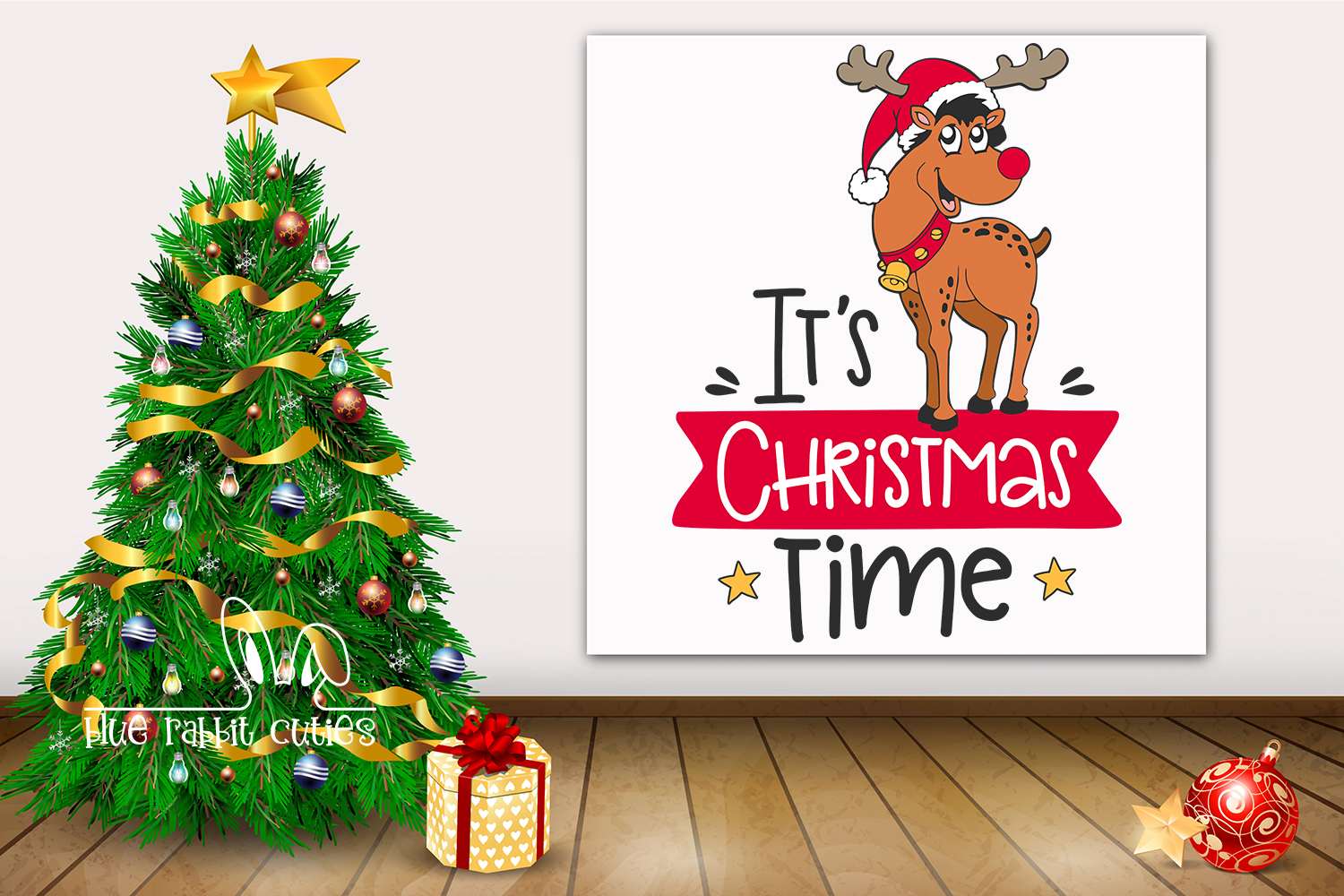 It's Christmas Time with Cute Reindeer SVG - Xmas cut files example image 2