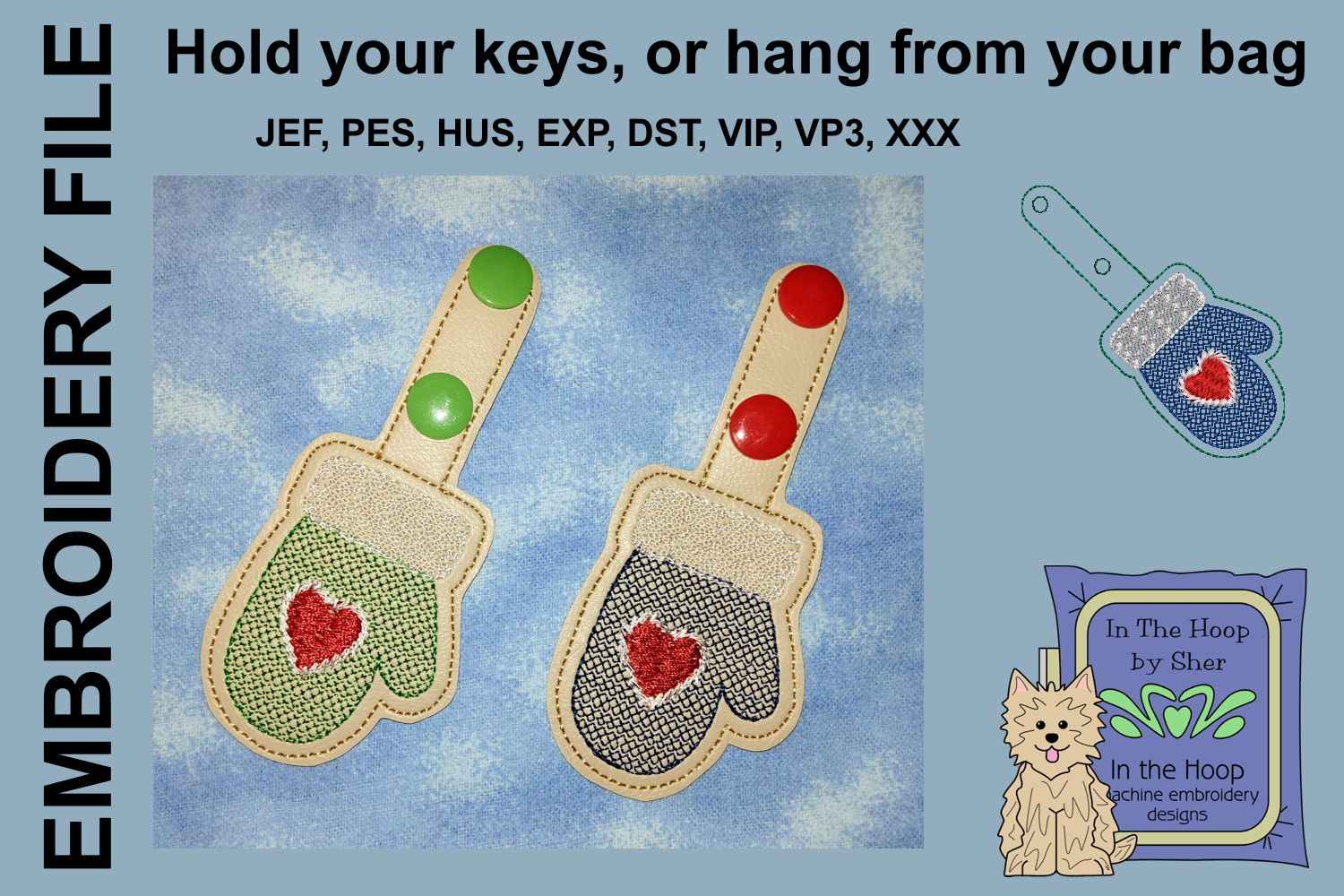 ITH Mitten Cookie Vinyl Key Fob or Bag Tag - Snap example image 2