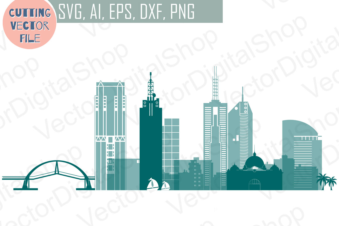 Melbourne Skyline Vector, Australian city, SVG, JPG, PNG, DWG, CDR, EPS, AI example image 1