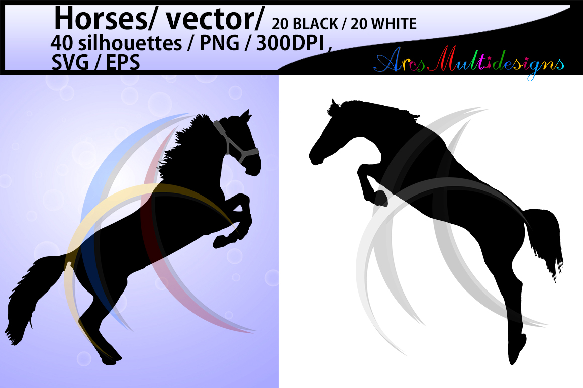 horse silhouette svg / 40 Horse / mare horse / black and white horse silhouette / digital files / EPS / SVG / Png / printable / cricut example image 2