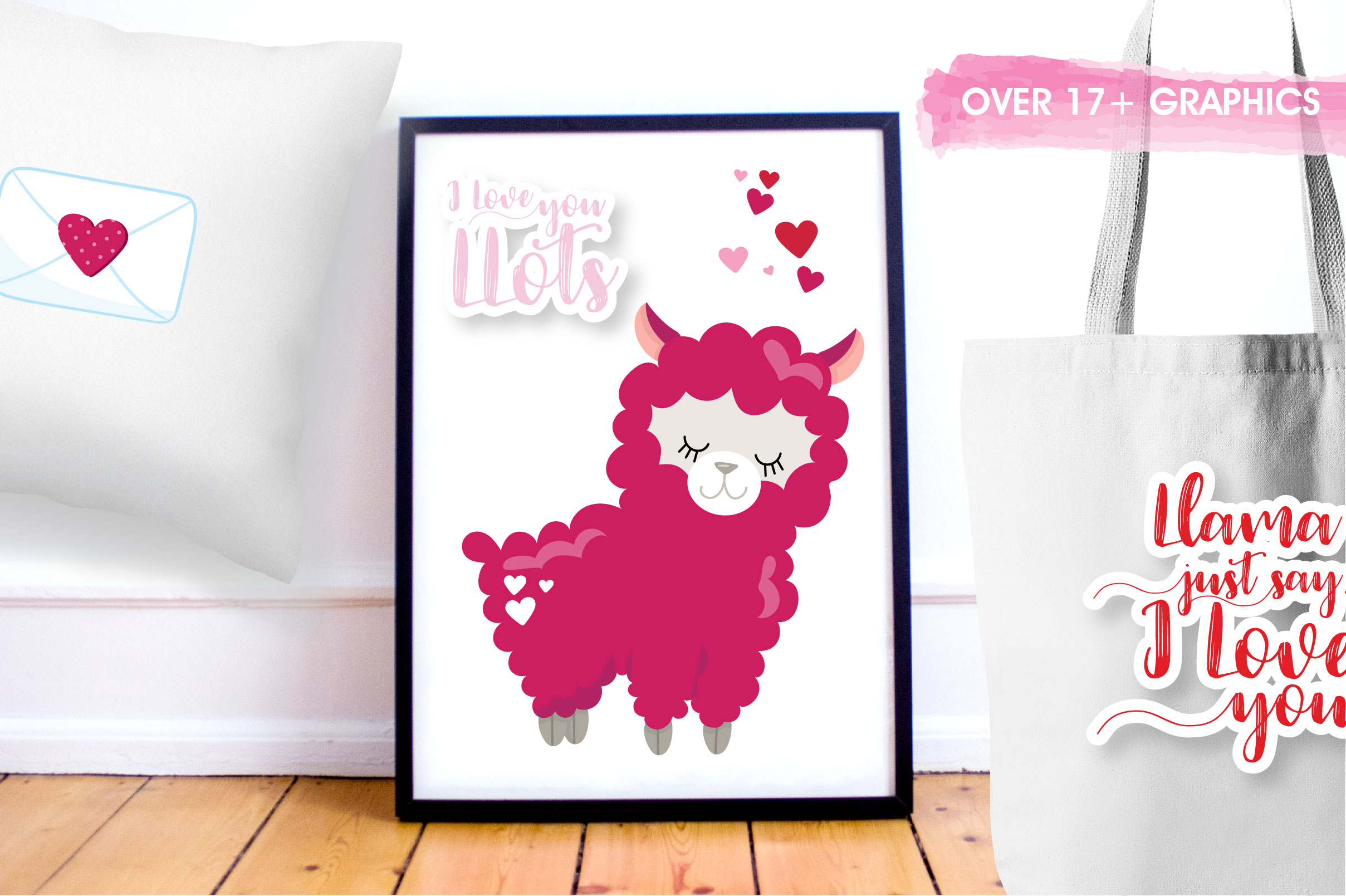 Valentine llamas graphics and illustrations example image 4
