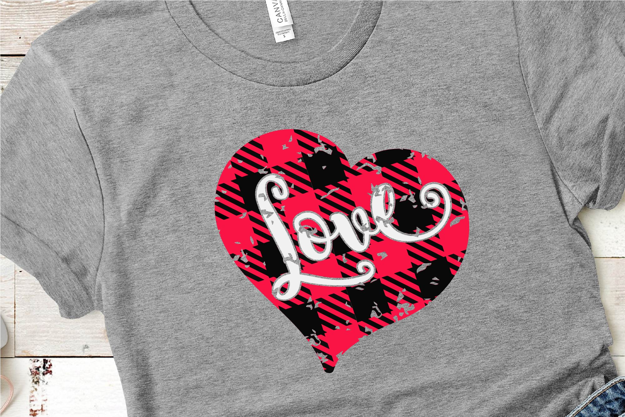 Valentine's Day SVG Love Buffalo Plaid Heart Sublimation example image 1