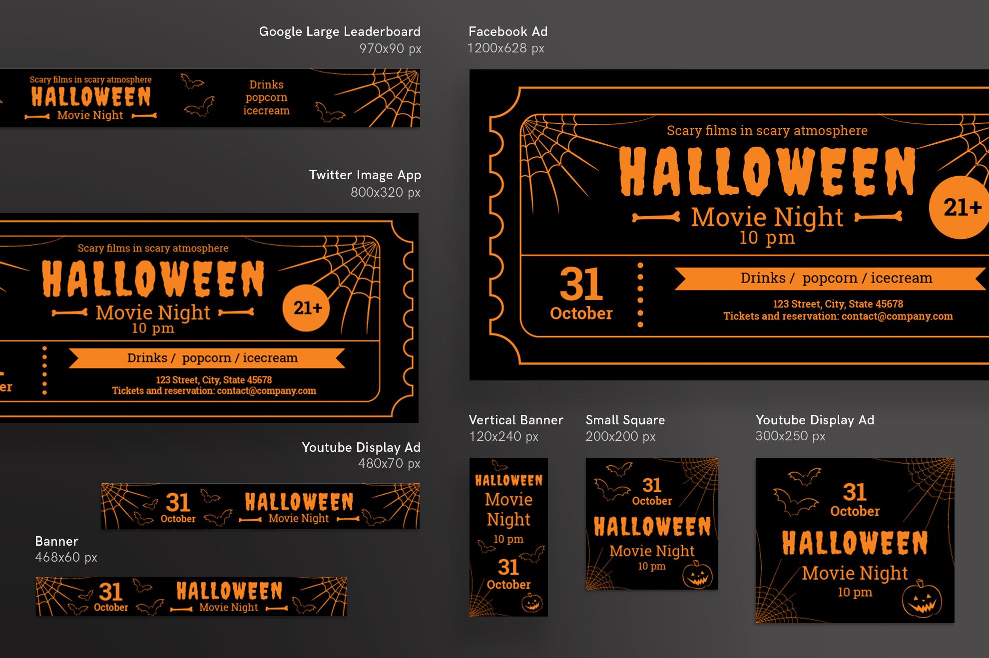 Halloween Movie Night Design Templates Bundle example image 6