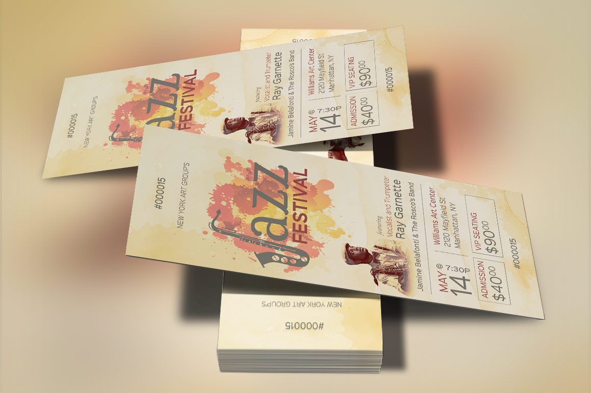 Jazz Event Ticket Template example image 2