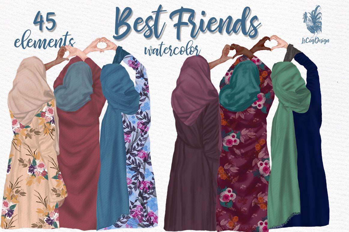 Muslim women clipart, Muslim Girls, Hijab clipart, Besties example image 1