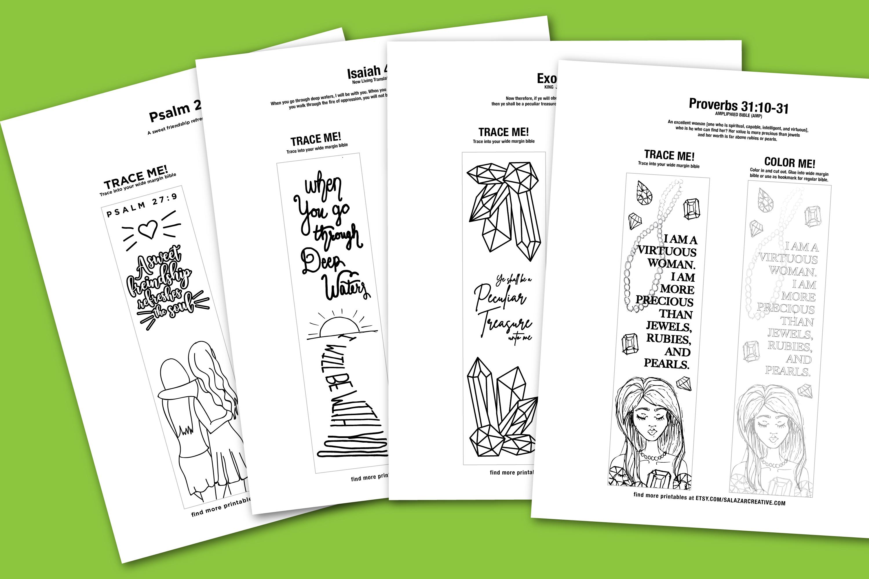 Bible Journaling Coloring Template - MEGA BUNDLE 12 Designs example image 3