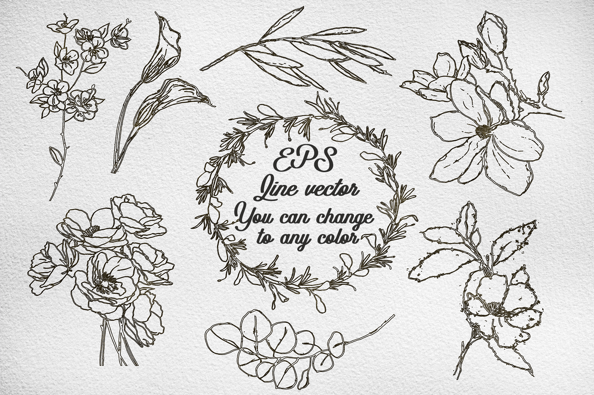 Set watercolor and ink flowers example image 2