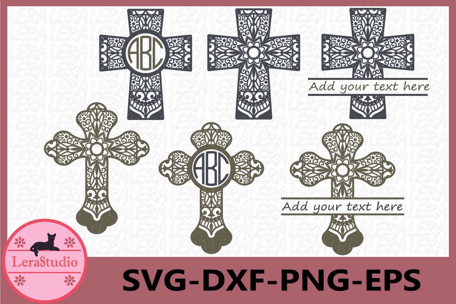Cross SVG, Cross Mandala Cut Files, Mandala Svg example image 1