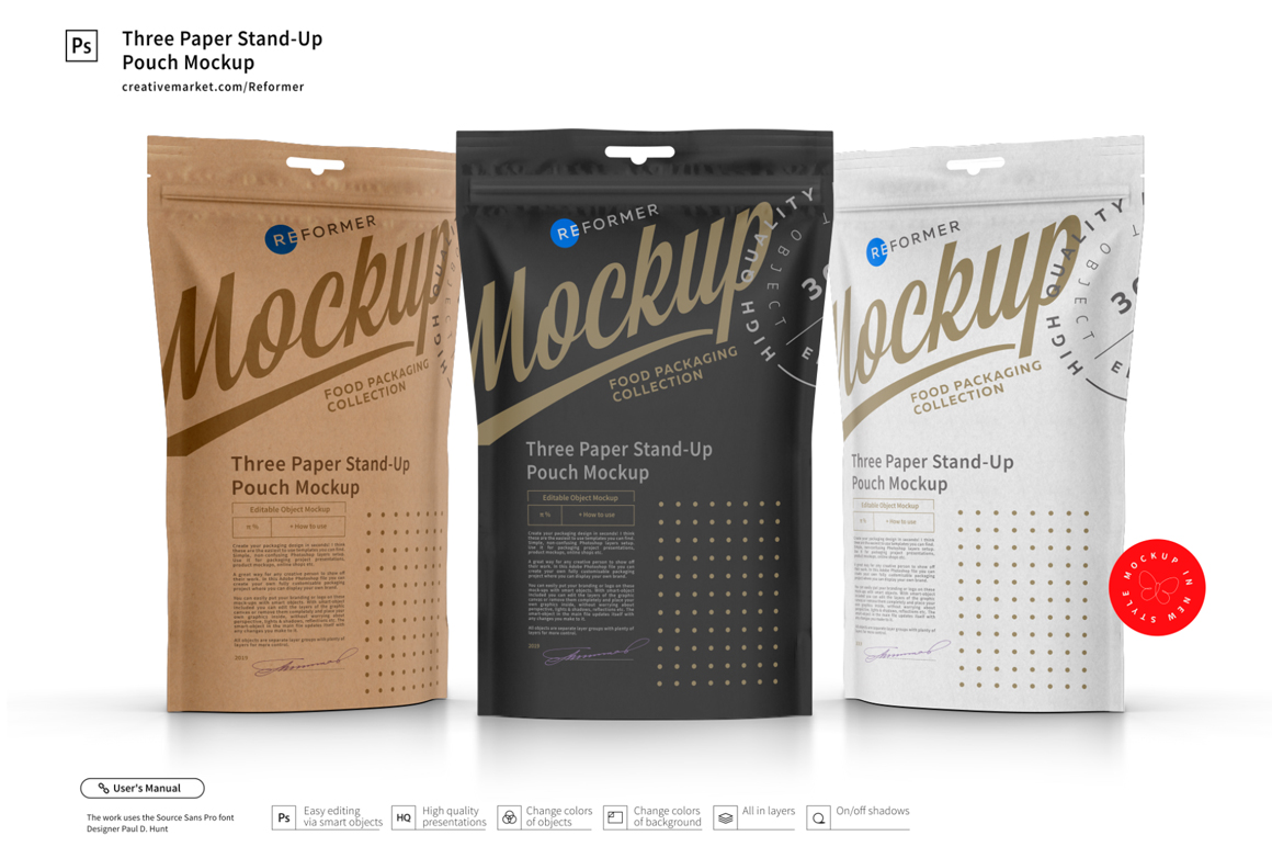 Three Paper Doy-Pack Pouch Mockup example image 1