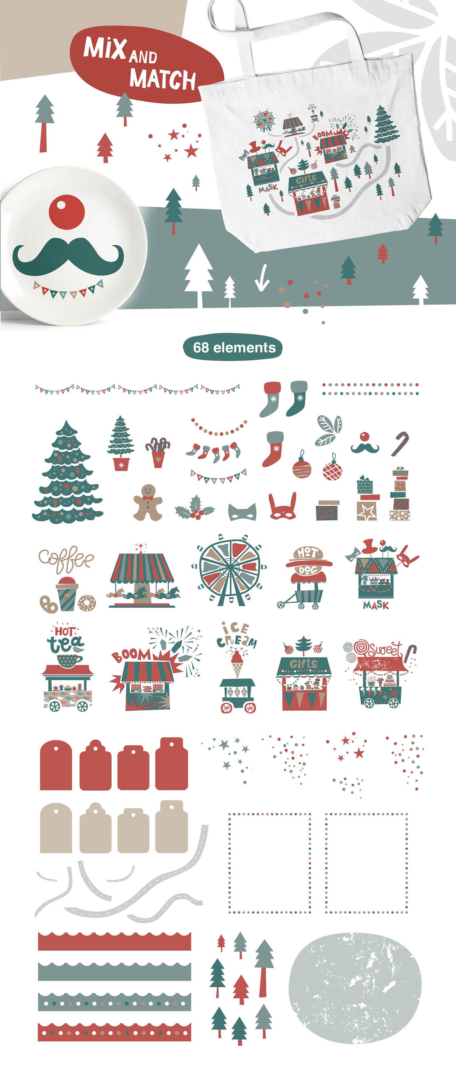Christmas market. Graphic set example image 4