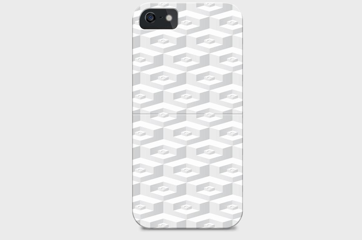 White geometric 3d seamless textures example image 3