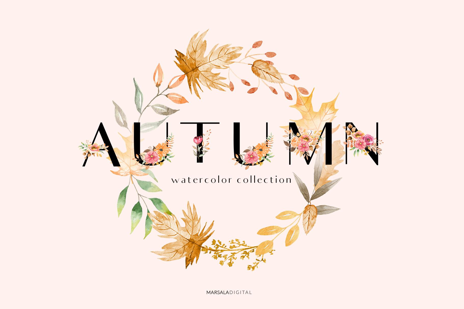 Autumn Watercolor Collection Pumpkins Arrangements example image 8