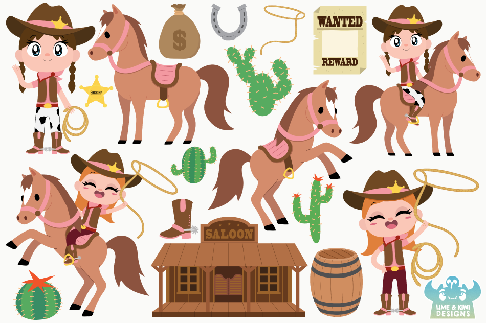 Wild West Cowgirls Clipart, Instant Download Vector Art example image 2