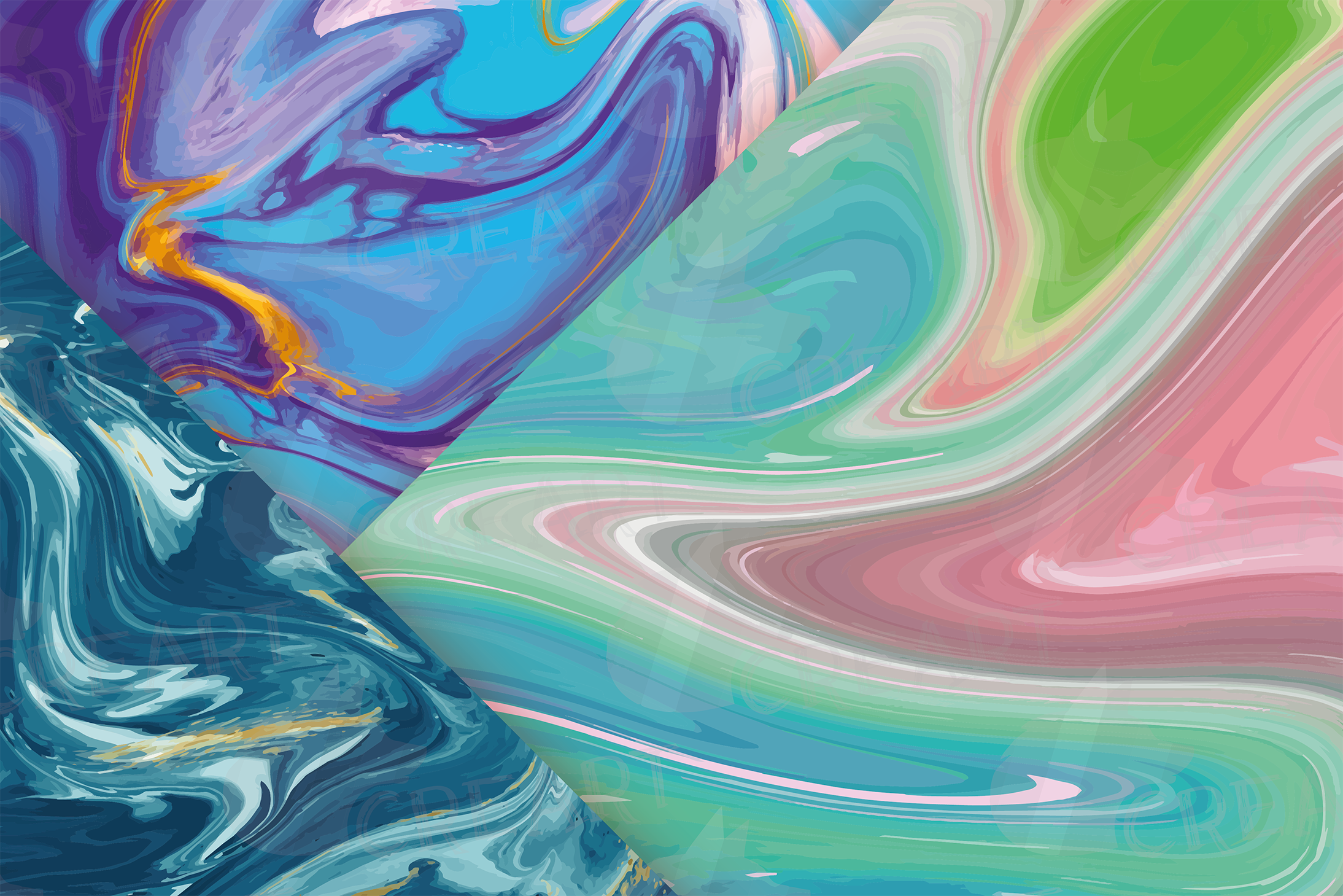 Watercolor Marble digital paper, colorful digital paper example image 2