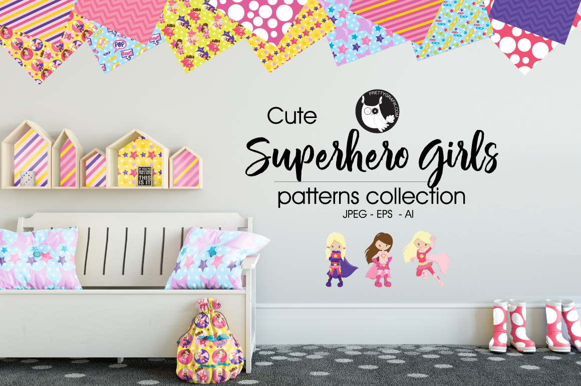 super hero girl, digital papers example image 4