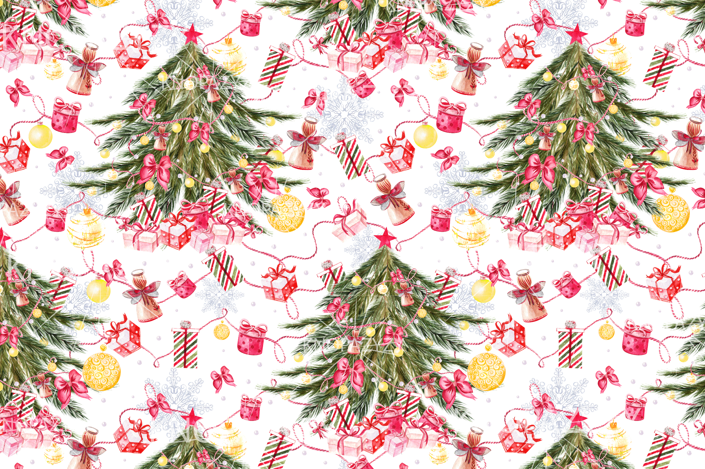 Hand Drawn Watercolor Christmas 13 Patterns example image 10
