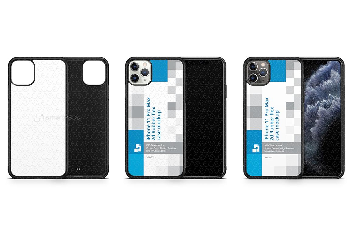 iPhone 11 Pro Max 2019 2d Rubber Flex Case Design Mockup example image 1