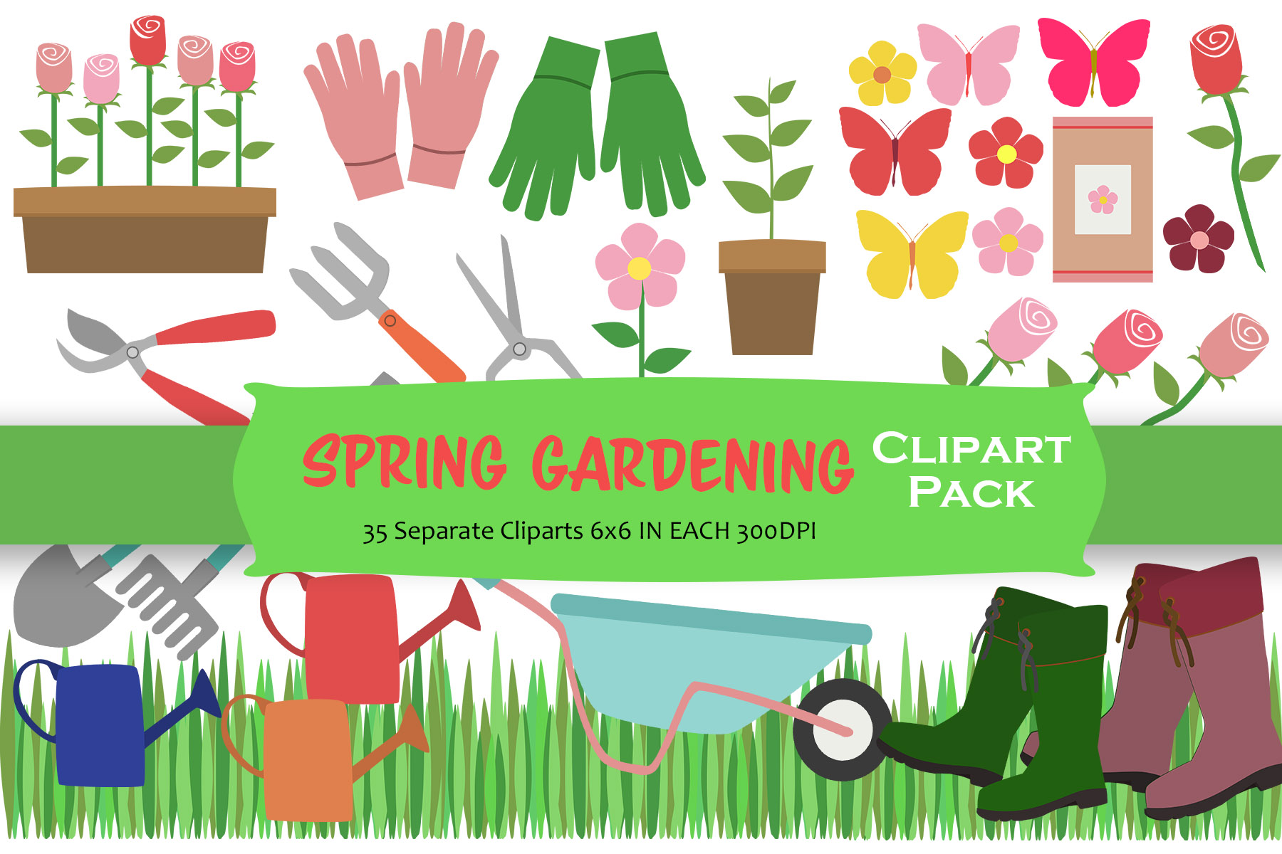 Spring Gardening Clipart Pack example image 1