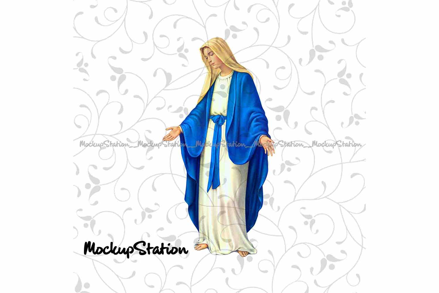 Virgin Mary PNG, Christian Graphic Clip Art Sublimation File example image 1