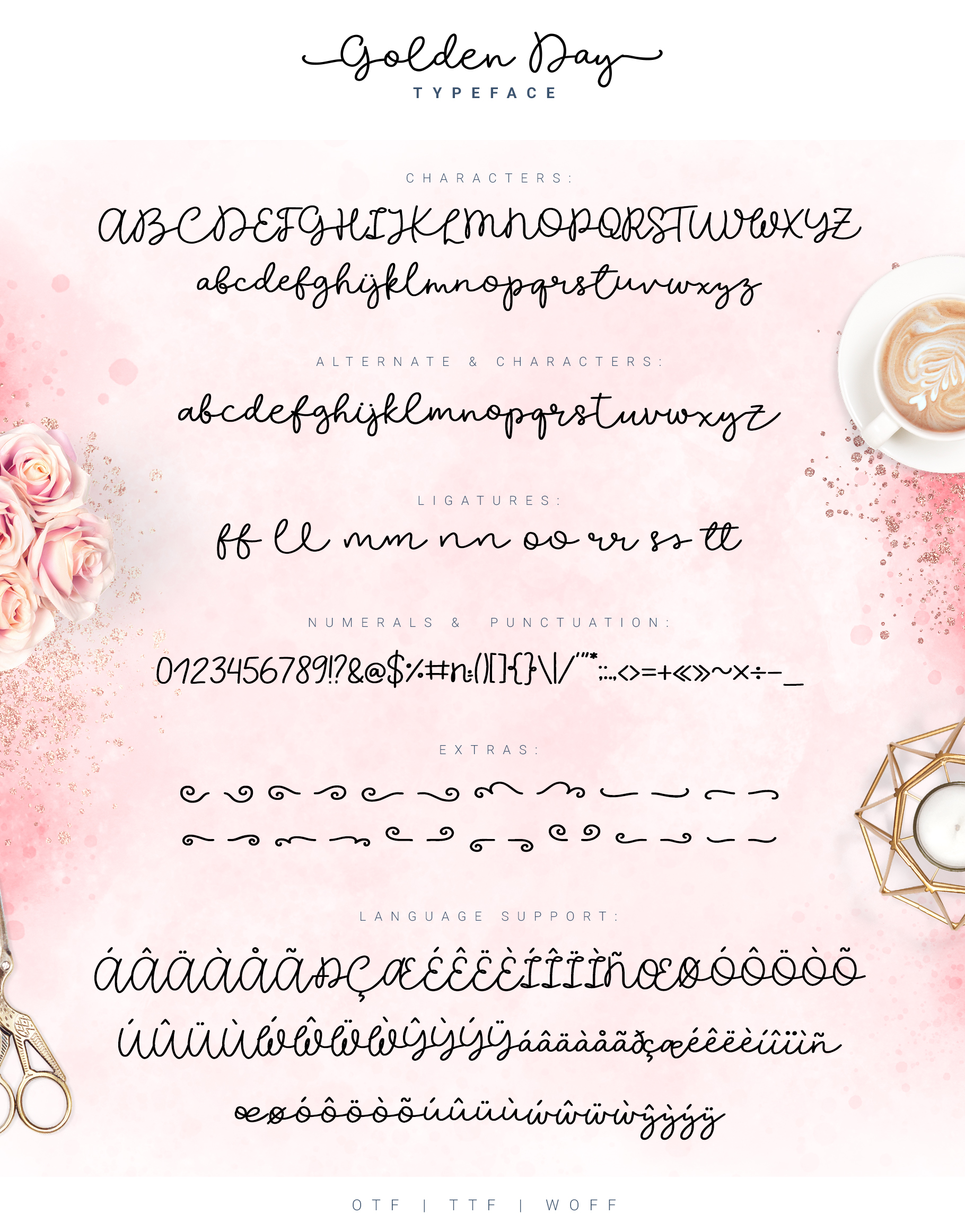 Golden Day Font with Extras & Shapes example image 9