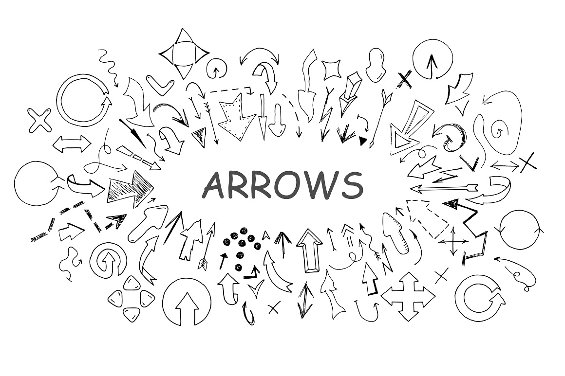 Doodle arrows collection. Hand drawn example image 5