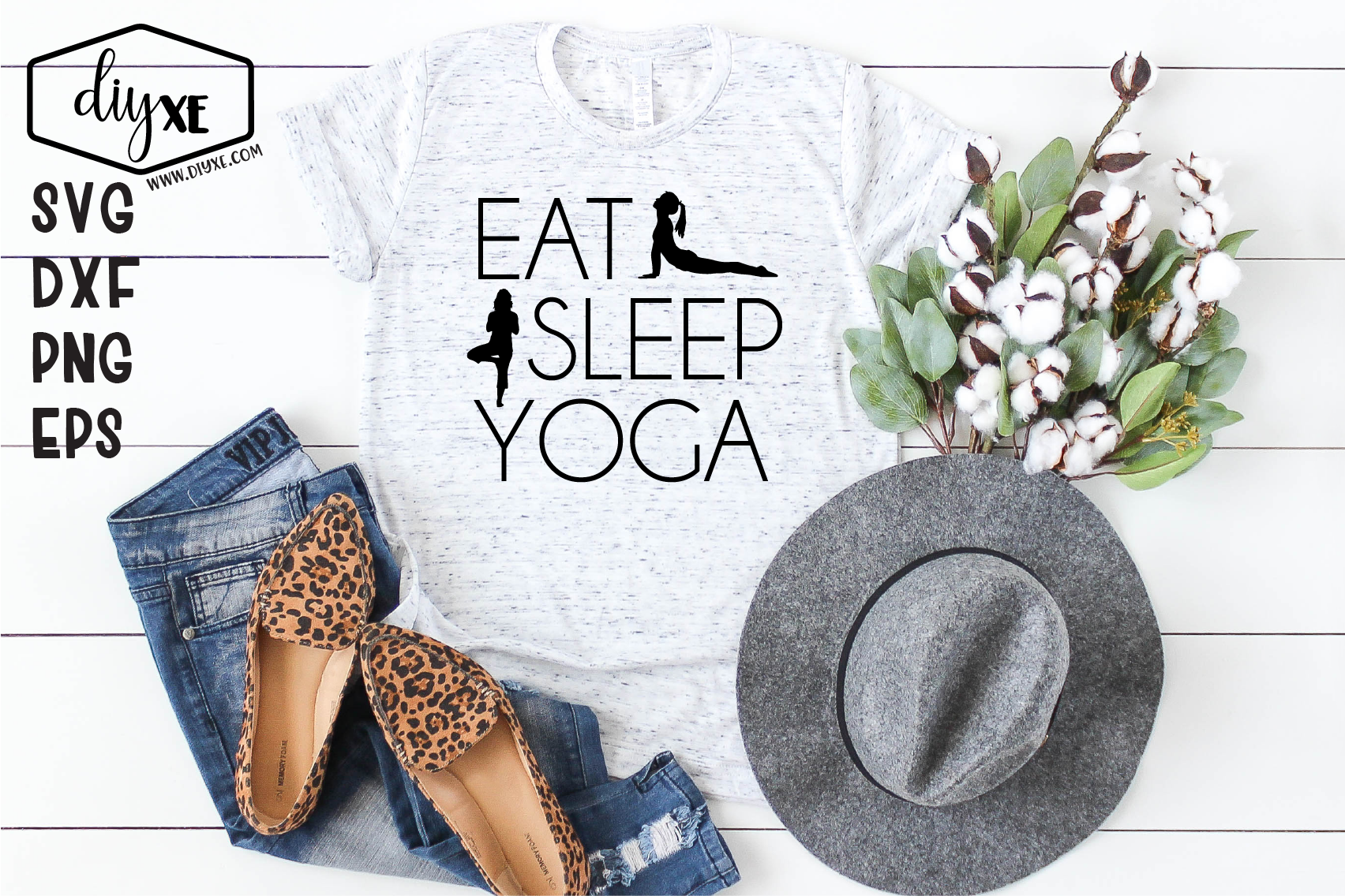 Eat Sleep Yoga - A Yoga SVG Cut File example image 1