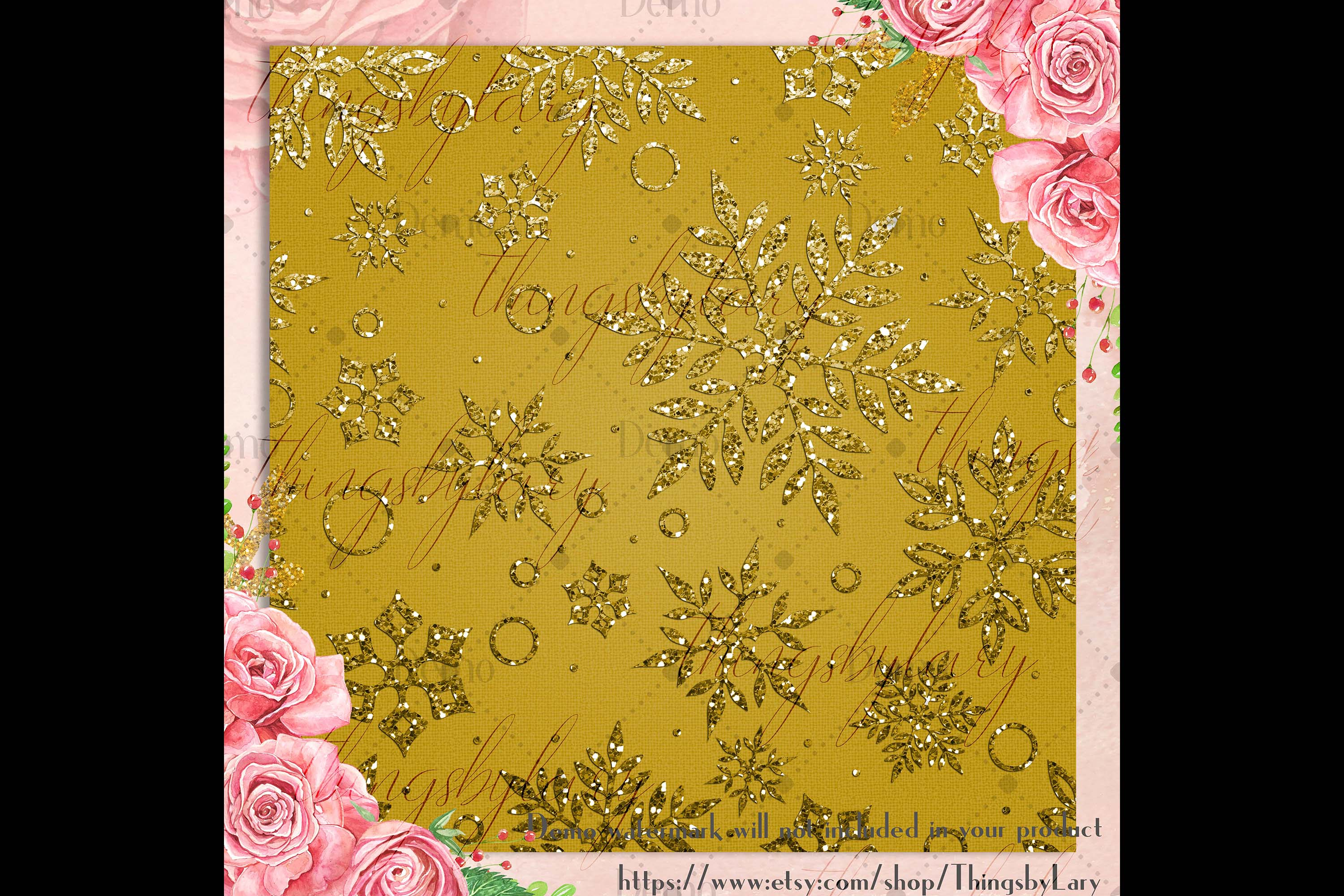 16 Gold Glitter Christmas Printable Digital Papers 12 inch example image 3