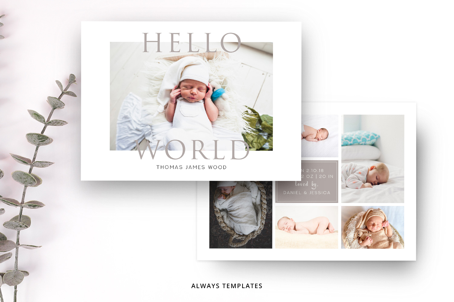 Birth Announcement Template BA001 example image 1