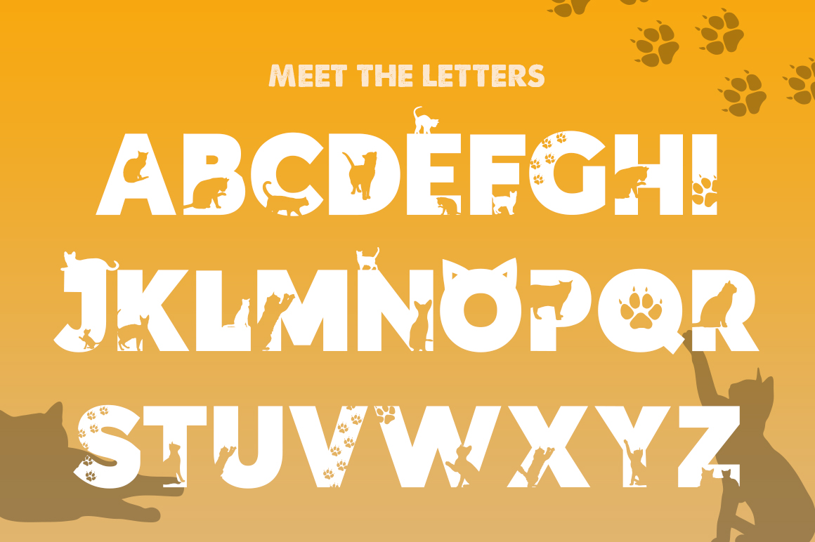 Kittens Silhouette Font example image 2