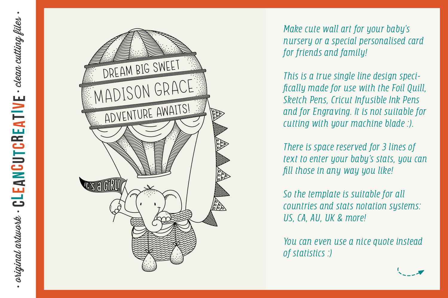 Foil Quill HOT AIR BALLOON Birth Stats Baby Announcement SVG example image 2