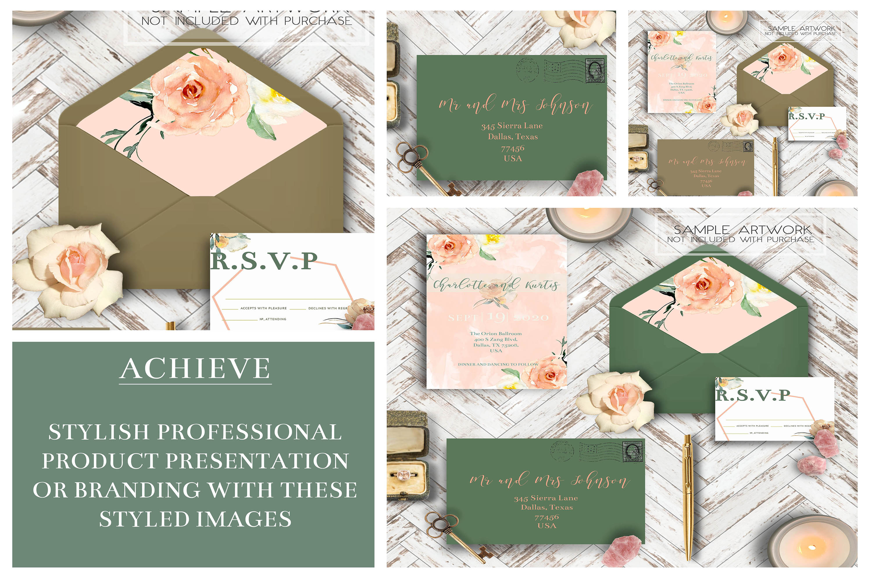 PSD Wedding Mockup/ Invitation Suite Mockup/ example image 2