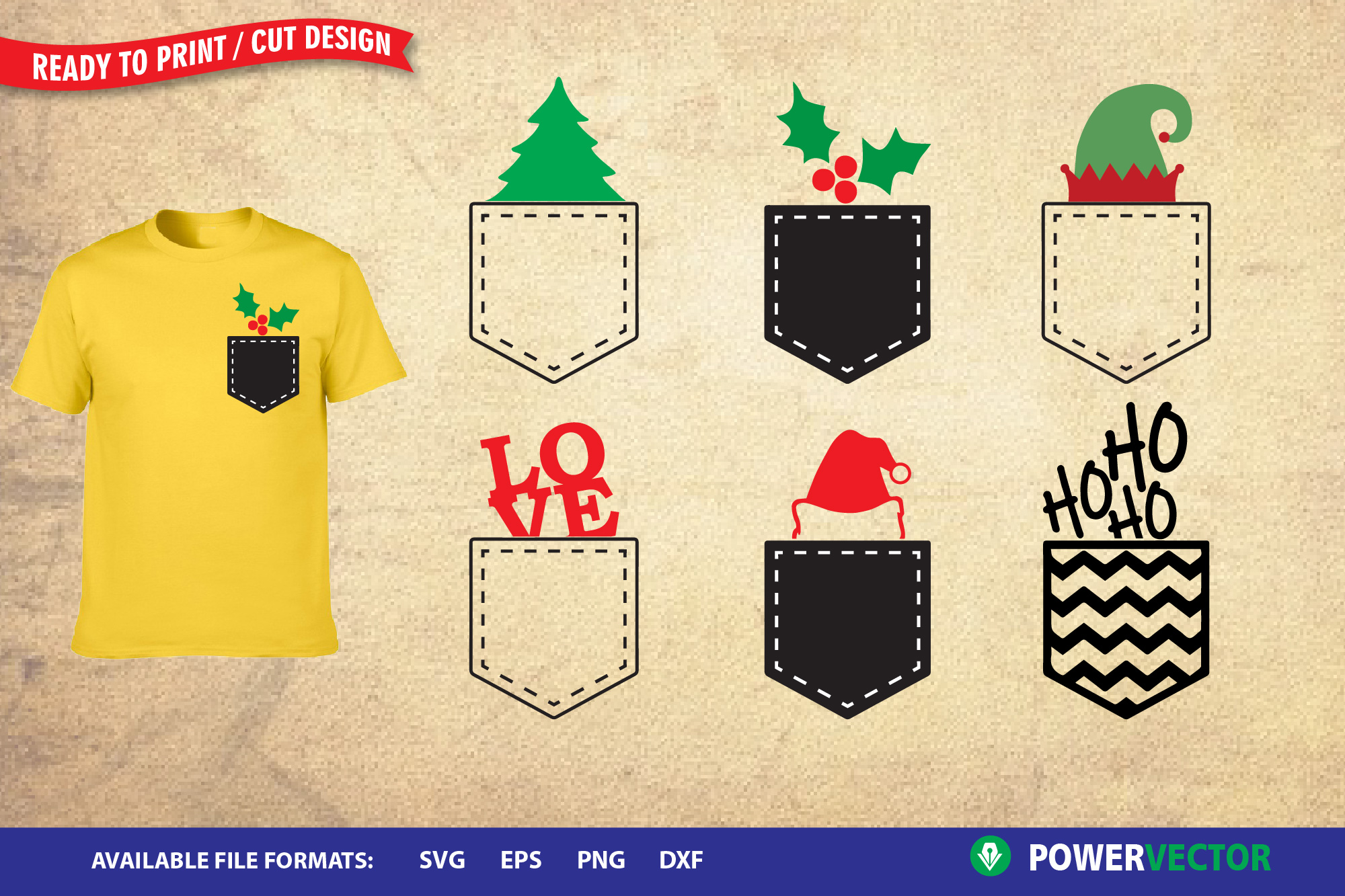 Christmas pocket SVG, Dxf, Eps, Png Cut, Print Files Iron on example image 1