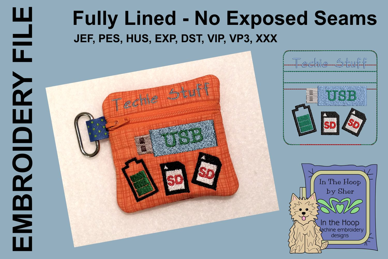 Techie Stuff Mini Zipper Bag / Fully Lined, 4X4 HOOP example image 1