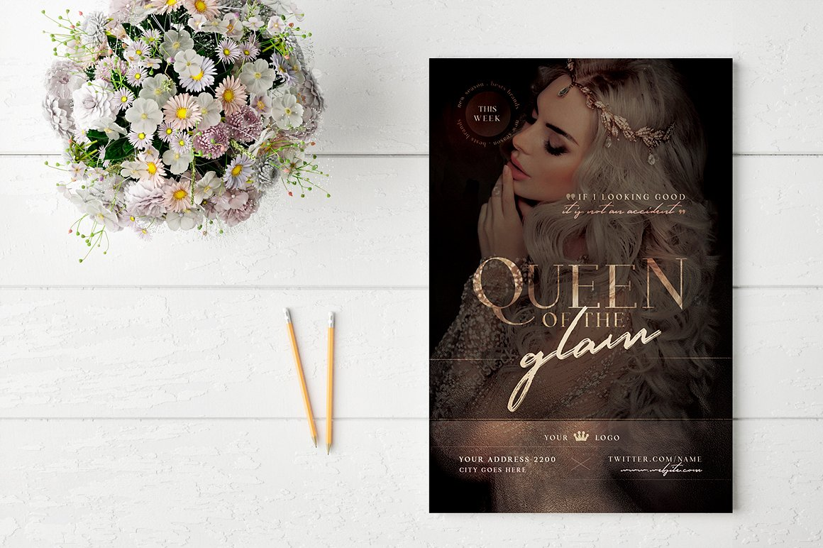 Queen Of The Glam Flyer Template example image 2