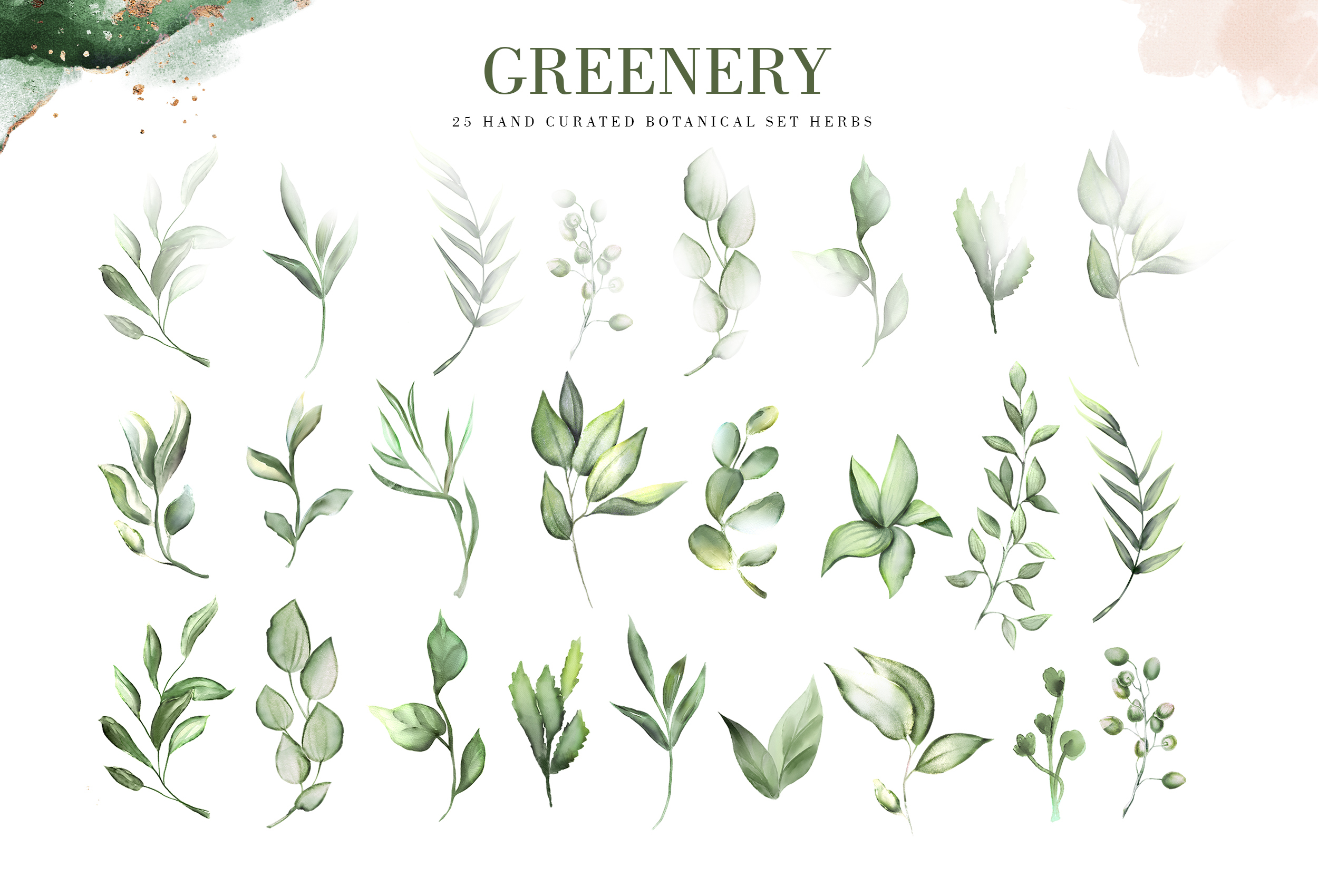 Greenery. Watercolor Elements| Letters gold with flowers example image 4