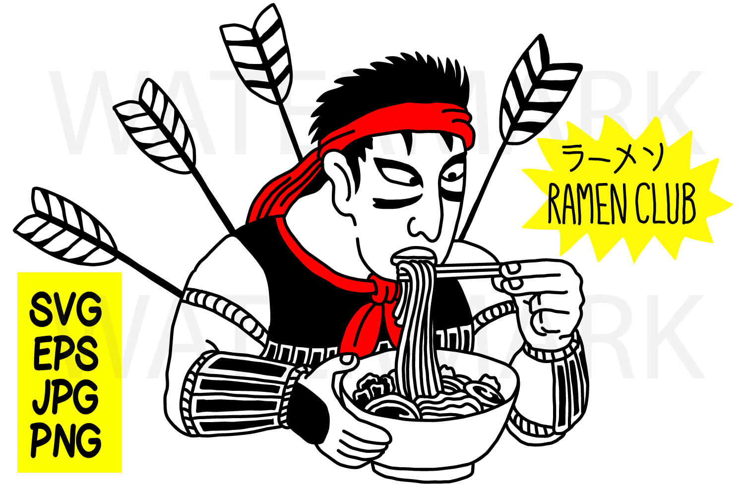 Samurai Ramen Club -- with outline - SVG-EPS-JPG-PNG example image 1