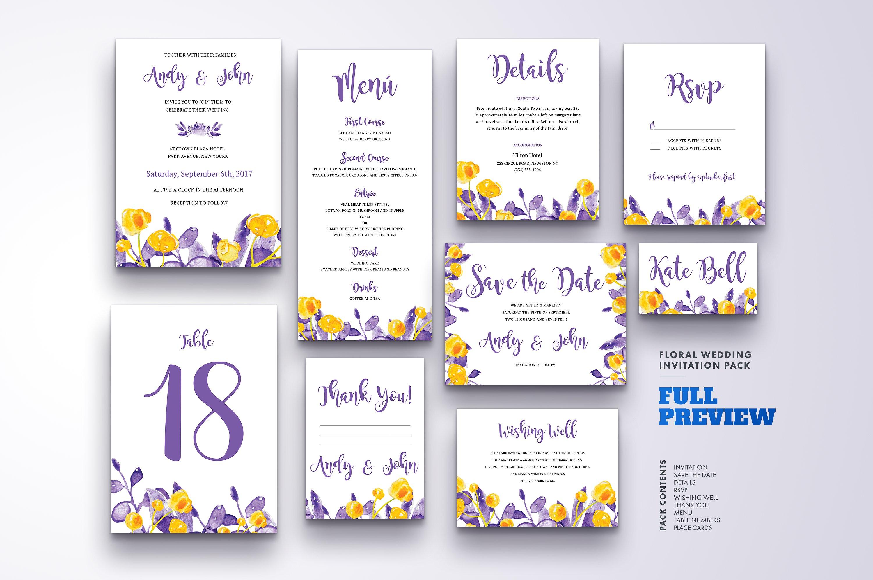 Floral Wedding Invitation Bundle example image 17